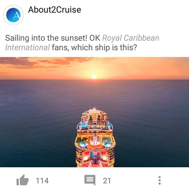 Facebook Marketing - Cruise Travel - Royal Caribbean Cruises Sunset