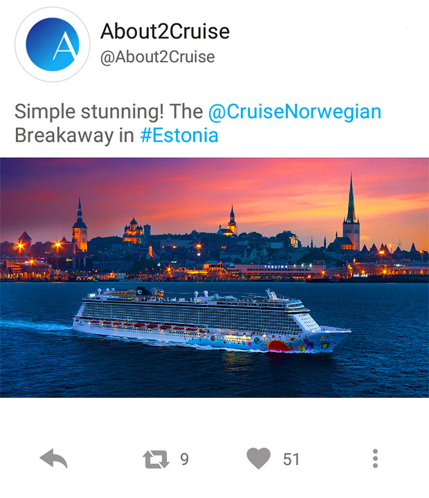 Twitter Marketing - Cruise Travel - Norwegian Breakaway