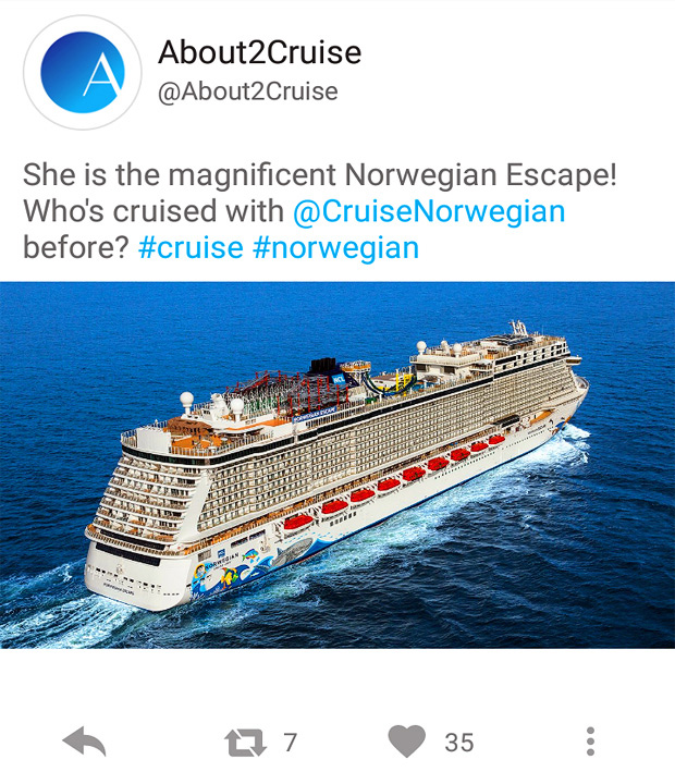 Twitter Marketing - Cruise Travel - Norwegian Escape