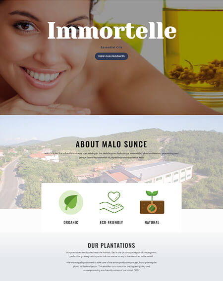 Website Design for Client Immortelle Oil